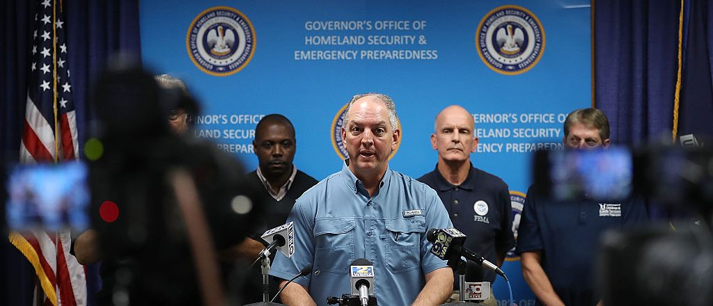 Louisiana Governor John Bel Edwards speaks during a press conference to update the public on FEMA's disaster recover and temporary housing programs (Getty Images)