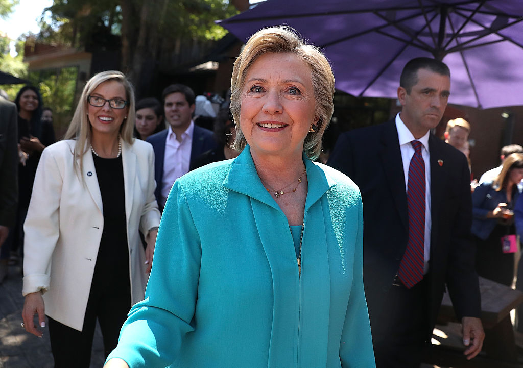 Hillary Clinton greets supporters at Hub Coffee Roasters on August 25, 2016 (Getty Images)