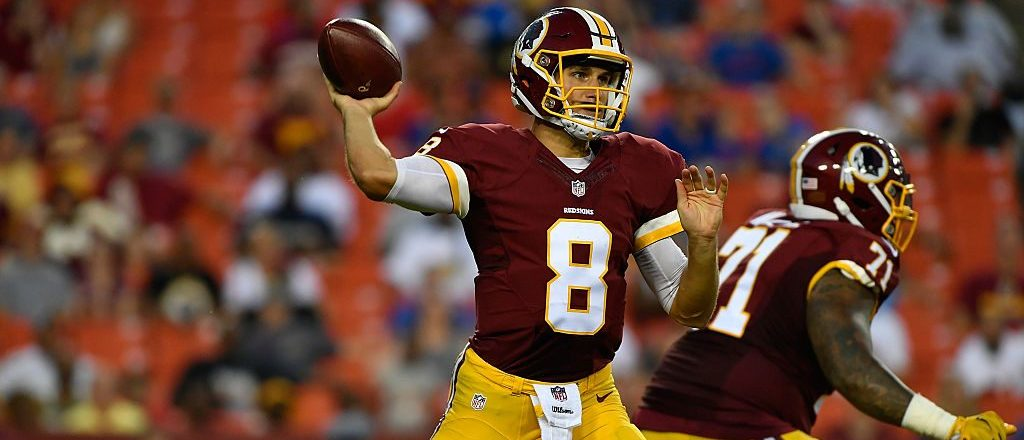 Quarterback Kirk Cousins #8 of the Washington Redskins passes the ball during the game between the Washington Redskins and the Buffalo Bills at FedExField on August 26, 2016 in Landover, Maryland