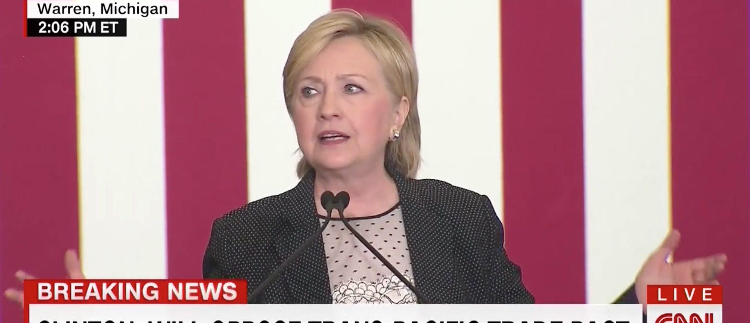 Hillary Clinton, Image via CNN Screen Grab, 8-11,2016