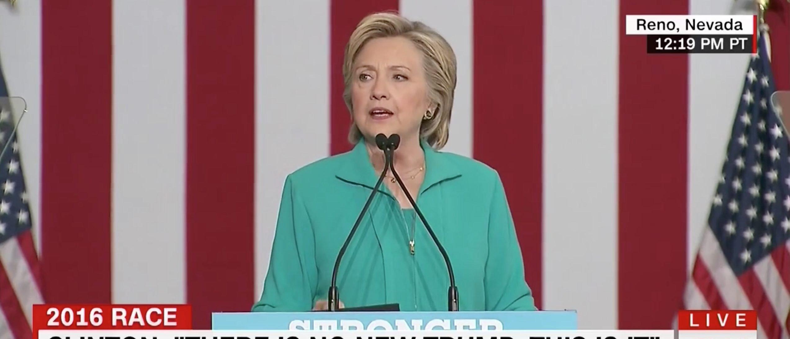 Hillary Clinton, Screen Grab CNN, 8-25-2016