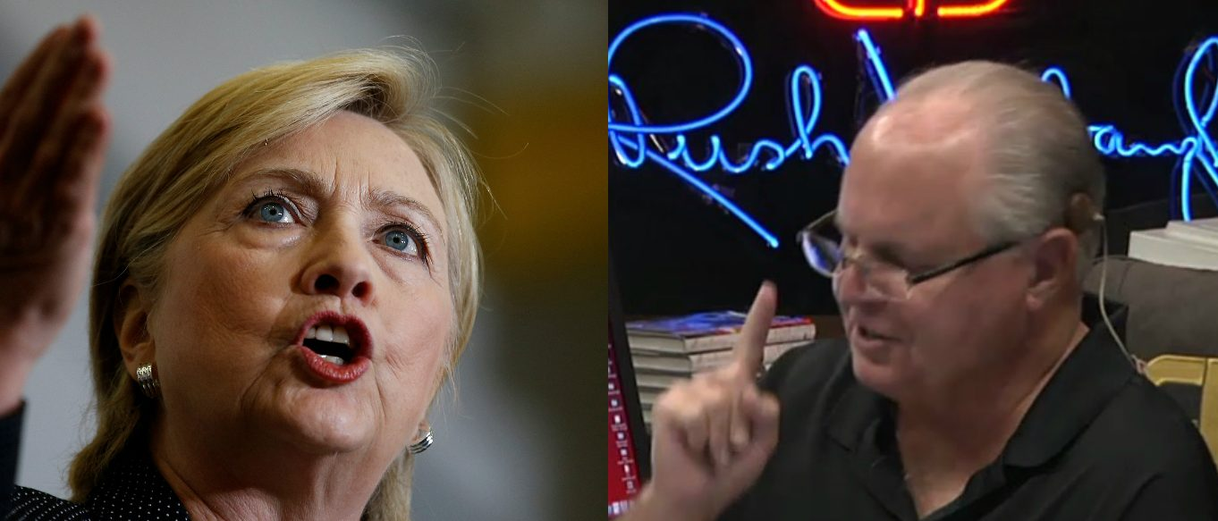 Hillary Clinton, Rush Limbaugh Screen Grab Dittocam, Reuters