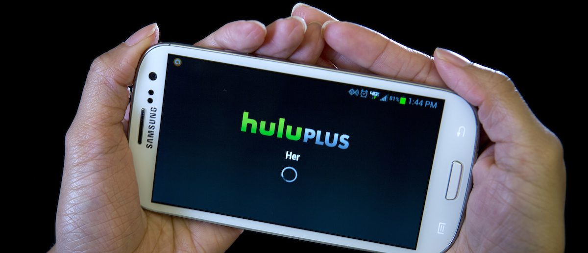 The HULU Plus app is played on a Samsung Galaxy phone in this photo-illustration in New York, December 23, 2013