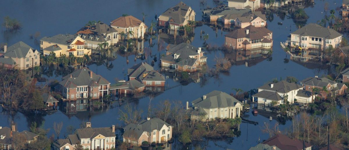 Neighborhoods are flooded with oil and water two weeks after Hurricane Katrina went though New Orleans, September 12, 2005. (REUTERS/Carlos Barria)