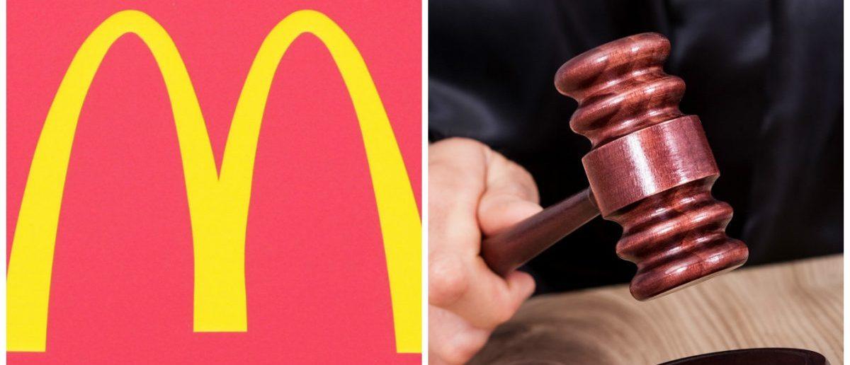 McDonalds Logo: J Stone/shutterstock.com, Judge Gavel: Andrey_Popov/shutterstock.com