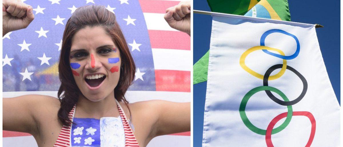 Olympic Flag in Rio: lazyllama/Shutterstock.com, American Fan: mangostock/Shutterstock.com,