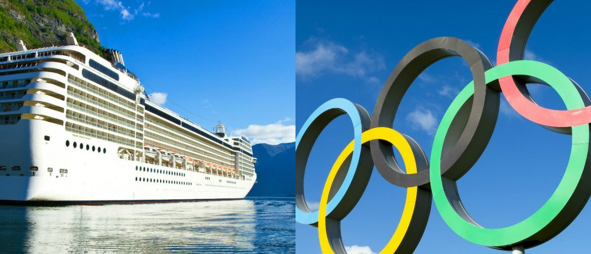 Olympic Rings: lazyllama/Shutterstock.com, Norwegian Cruise Ship: lsantilli/Shutterstock.com