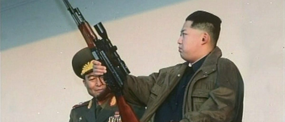 New leader of North Korea Kim Jong-un holds a weapon on January 8, 2012.REUTERS/KRT via Reuters TV