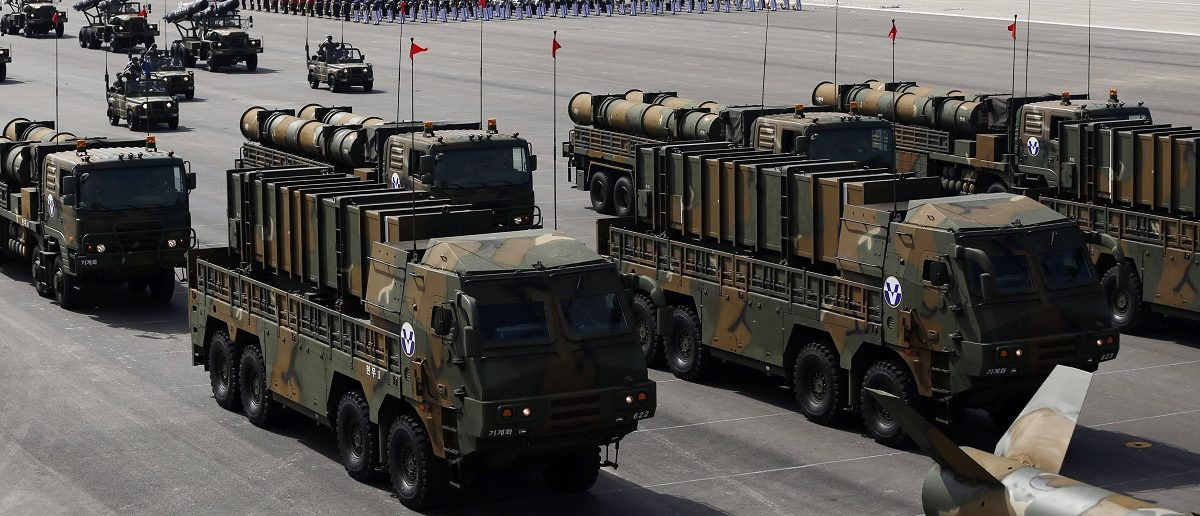 South Korea's new cruise missiles Hyunmoo-3 and Hyunmoo-2 are displayed during events to mark the 65th anniversary of Armed Forces Day, at a military airport in Seongnam, south of Seoul, October 1, 2013. The 500 kilometre-range Hyunmoo 2, 1,000 kilometre-range Hyunmoo 3, and the Israeli-made Spike missiles were unveiled to the public today, according to local media. REUTERS/Kim Hong-Ji