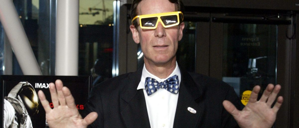 "Bill Nye, ""The Science Guy"", poses for a photograph with 3D glasses at the the opening of the IMAX film titled ""Magnificent Desolation Walking on the Moon 3D"" at the Smithsonian Air and Space Museum in Washington, D.C. September 21, 2005. The film highlights the past, present and future of space exploration and allows viewers to see what the Apollo astronauts filmed while they walked on the moon. REUTERS/Chris Kleponis"