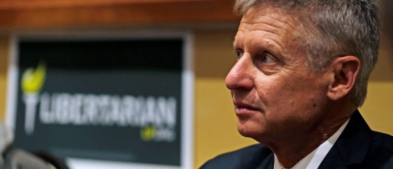 Libertarian Party presidential candidate Gary Johnson looks on during National Convention held at the Rosen Center in Orlando, Florida
