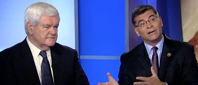 "Newt Gingrich and Rep. Xavier Becerra on ""Fox News Sunday."" (Screen shot Fox)"