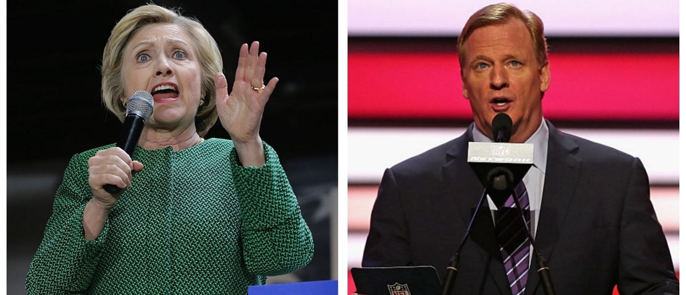 Hillary Clinton, Roger Goodell (Getty Images)