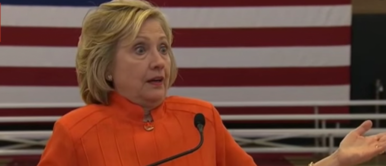 "Hillary Clinton's infamous ""with a cloth"" press conference. (Youtube screen grab)"