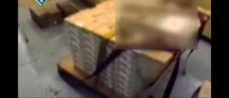 Iranian documentary shows a pallet of cash sent to Iran from the U.S. Source: YouTube Screengrab