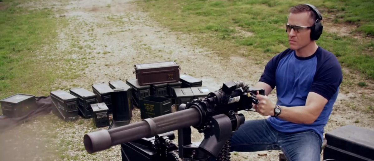 Candidate Eric Greitens shoots a machine gun in his newest ad