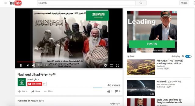 "Screenshot of Trump ad running alongside the YouTube video ""Nasheed jihad"" taken by GIPEC researchers in New York, NY. (Screenshot/YouTube/GIPEC)"