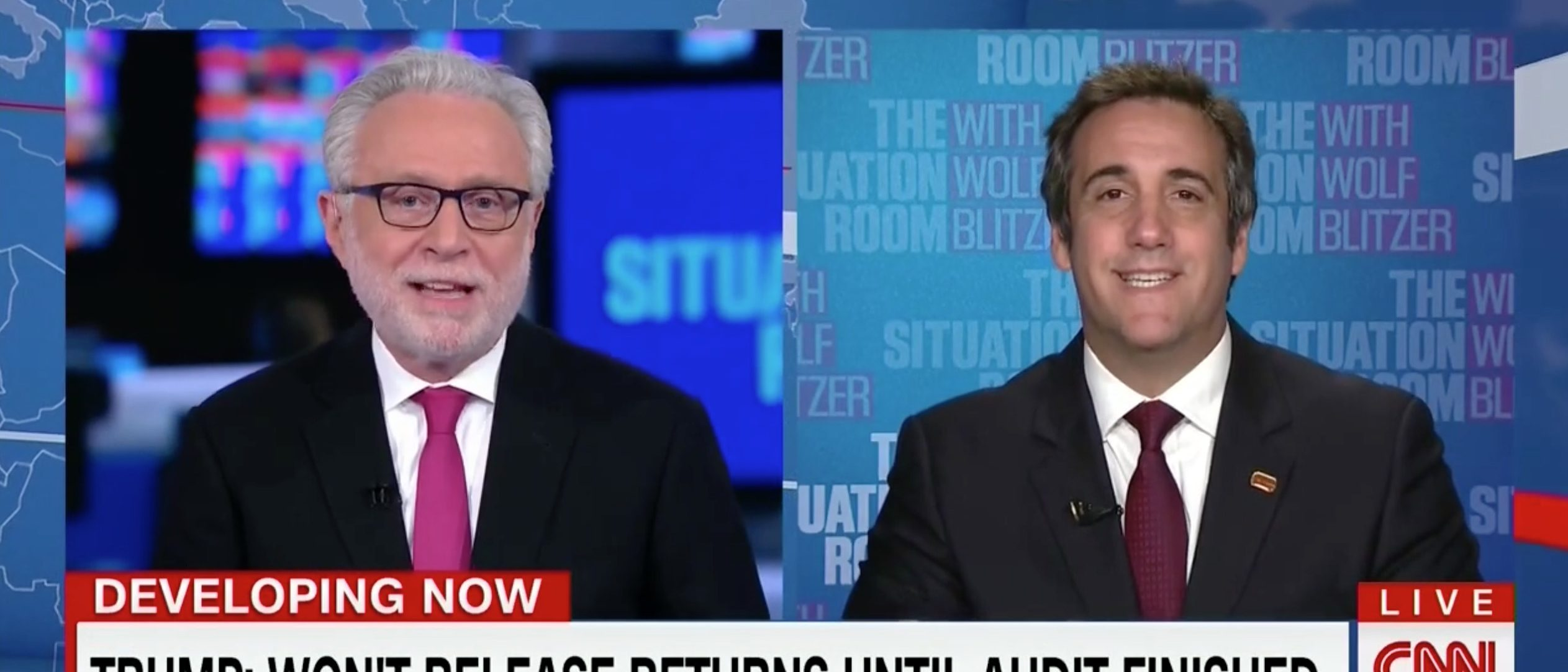 Wolf Blitzer, Michael Cohen, Screen Grab CNN, 8-11-2016