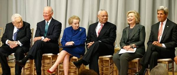 Former Secretaries of State Henry Kissinger (from left to right), James Baker, Madeleine Albright, Colin Powell and Hillary Clinton joins John Kerry at a ceremony at the State Department in Washington, D.C., on September 3, 2014. JONATHAN ERNST / Reuters