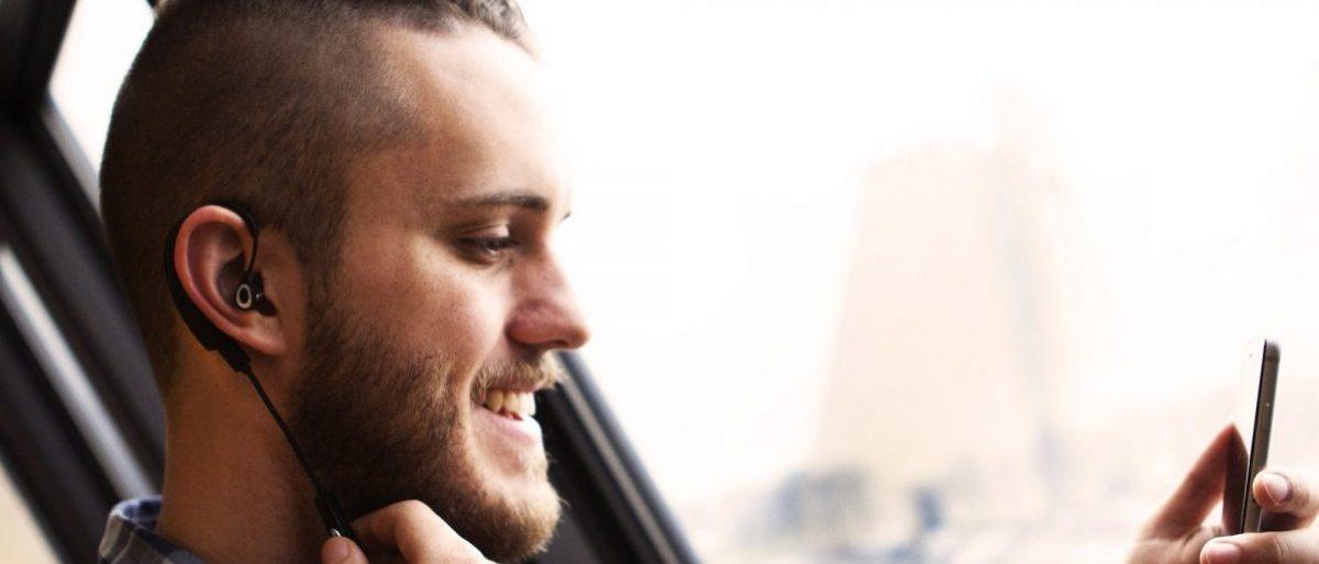This guy likes the headphones (Photo via Klipsch)
