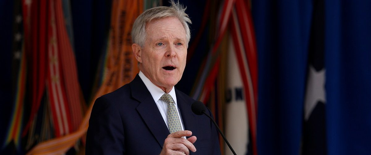 U.S. Navy Secretary Ray Mabus delivers remarks at the Pentagon's Lesbian, Gay, Bisexual and Transgender Pride month ceremony at the Pentagon