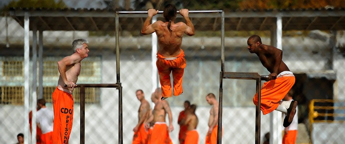 Inmates at Chino State Prison exercise in the yard December 10, 2010 in Chino, California. The U.S. Supreme Court is preparing to hear arguments to appeal a federal court's ruling last year that the California state prison system would have to release 40,000 prisoners to cope with overcrowding so severe that it violated their human rights. More than 144,000 inmates are currently incarcerated in prisons that were designed to hold about 80,000. Kevork Djansezian/Getty Images.