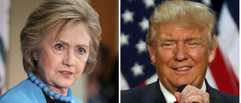 A combination photo shows U.S. Democratic presidential candidate Hillary Clinton (L) and Republican U.S. presidential candidate Donald Trump (R) in Los Angeles, California on May 5, 2016 and in Eugene, Oregon, U.S. on May 6, 2016 respectively. (REUTERS/Lucy Nicholson (L) and Jim Urquhart/File Photos)