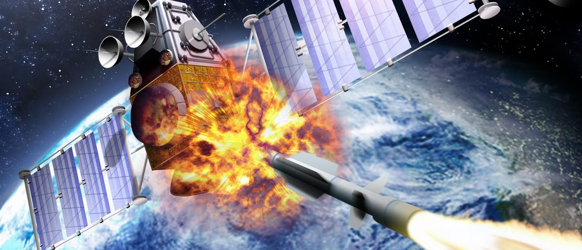 A SM-3 missile smashing into a spy satellite. (Shutterstock/edobric )