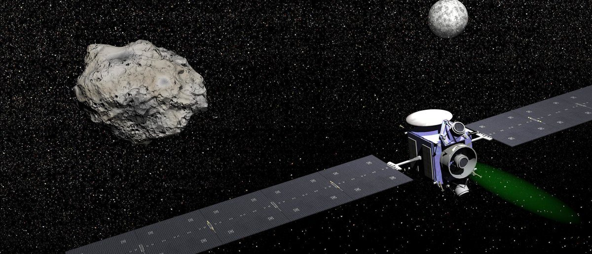 Dawn robotic spacecraft next to Ceres and Vesta, members of the asteroid belt, to study them in space. - Elements of this image furnished by NASA (Shutterstock/Elenarts)