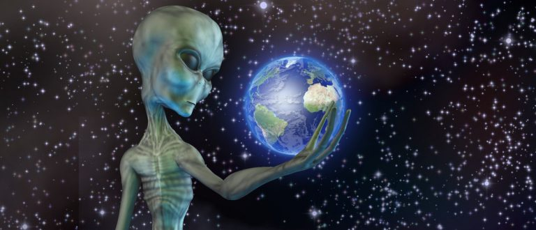 Alien being ponders earth Elements of this image furnished by NASA (Shutterstock/Bruce Rolff)