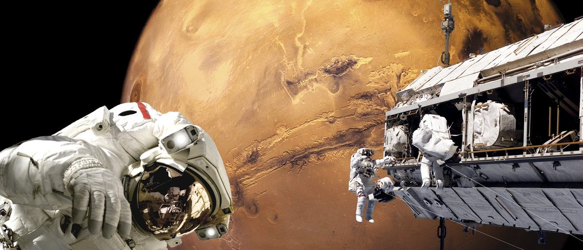 An artist's depiction of a team of astronauts performing work on a space station while orbiting above the surface of Mars. Elements of this image furnished by NASA. (Shutterstock/Marc Ward)