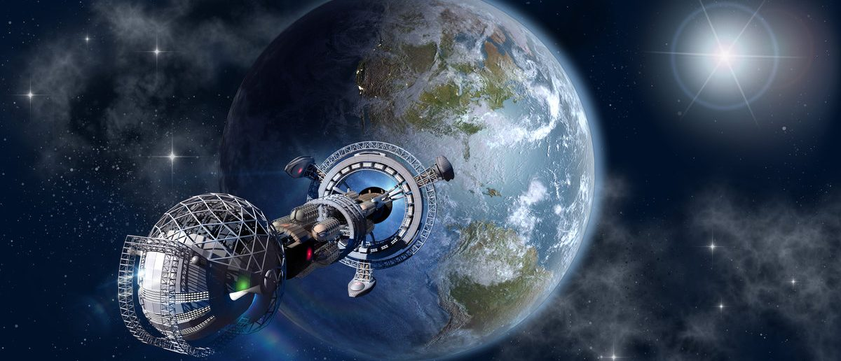 Interstellar spaceship leaving Earth as a 3D concept for futuristic deep space travel for sci-fi backgrounds. Elements of this image furnished by NASA. (Shutterstock/3000ad)