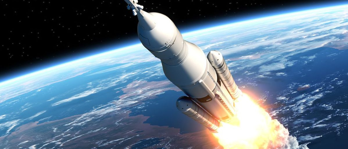 NASA's Space Launch System Takes Off. 3D Scene (Shutterstock/3Dsculptor)