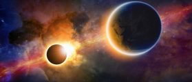 Abstract scientific background - glowing planet Earth in space, solar eclipse, nebula and stars. Elements of this image furnished by NASA nasa.gov (Shutterstock/Igor Zh)
