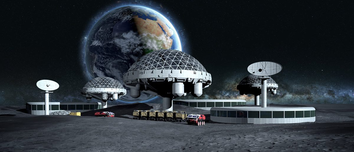 Futuristic city, base, town on Moon. The space view of the planet Earth. expedition. 3d rendering. Elements of this image furnished by NASA (Shutterstock/Pavel Chagochkin)