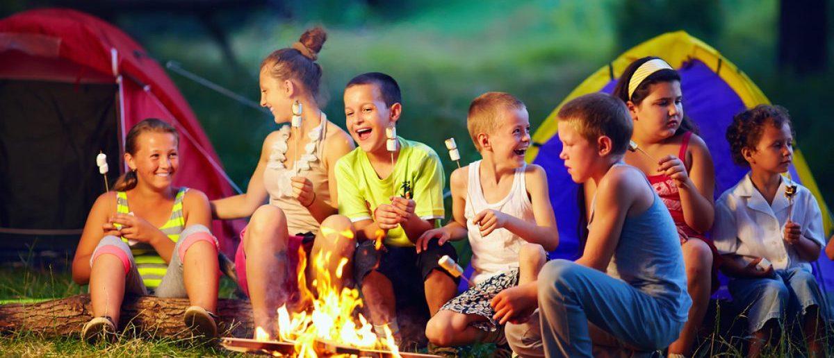 Group of happy kids roasting marshmallows on campfire. [Shutterstock - Olesia Bilkei]