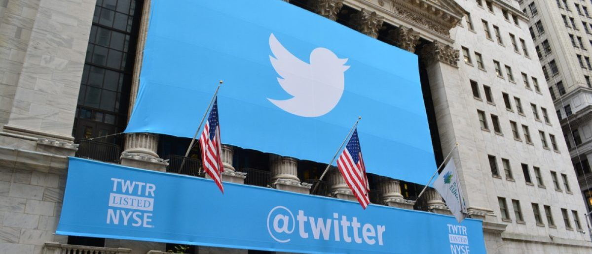 NEW YORK CITY - Banner on the New York Stock Exchange marking Twitters initial public offering on November 7, 2013. [Shutterstock - Christopher Penler]