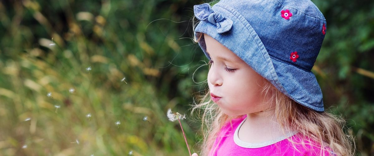 Small girl blowing a dandelion. (Sokolova Maryna/Shutterstock).