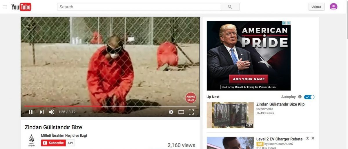 "Screenshot of Trump ad running alongside the YouTube video ""Zindan Gülistandır Bize"" taken by GIPEC researchers in New York, NY. (Screenshot/YouTube/GIPEC)"