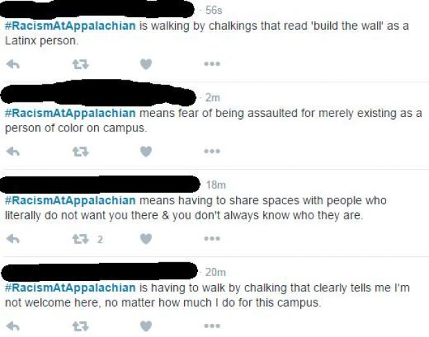 Tweets about Appalachian State University pro-Trump chalk. [Twitter screengrab]