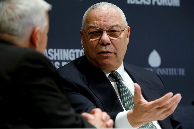 Former U.S. Secretary of State Colin Powell (R) takes part in an onstage interview with Aspen Institute President and CEO Walter Isaacson (L) at the Washington Ideas Forum in Washington, September 30, 2015. REUTERS/Jonathan Ernst/File Photo