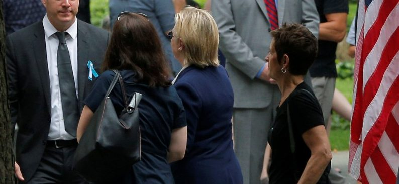 U.S. Democratic presidential candidate Hillary Clinton leaves ceremonies marking the 15th anniversary of the September 11 attacks at the National 9/11 Memorial in New York, New York, United States September 11, 2016. REUTERS/Brian Snyder