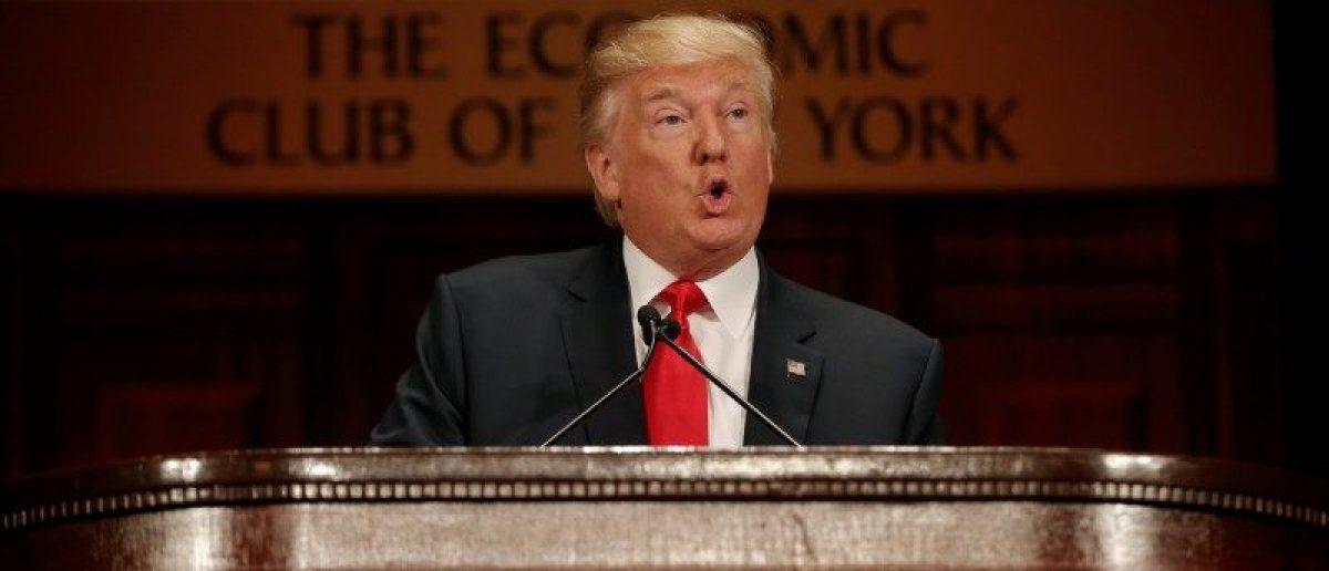 Republican presidential nominee Donald Trump speaks to the Economic Club of New York luncheon in Manhattan, New York, U.S., September 15, 2016. REUTERS/Mike Segar