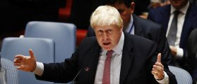 British Foreign Secretary Boris Johnson speaks at a meeting of the United Nations Security Council to address the situation in the Middle East during the General Assembly for the 71st session of the U.N. General Assembly at U.N. headquarters in New York