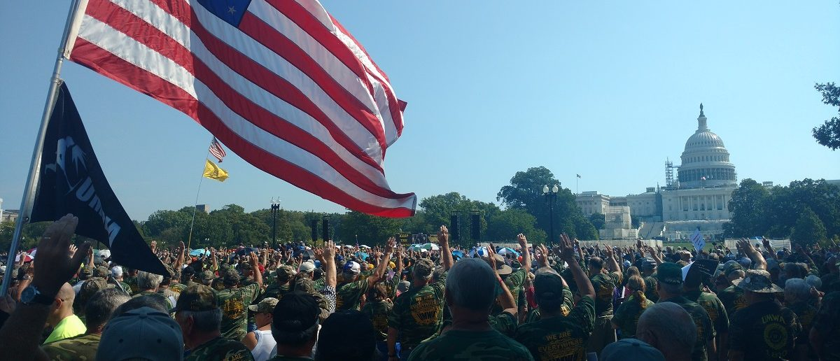 Coal miners protest at U.S. Capitol. (Steve Birr/TheDCNF)