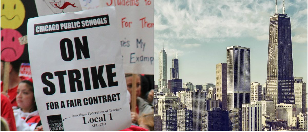 Chicago Teachers Strike: Atomazul/shutterstock.com, Chicago Skyline: marchello74/shutterstock.com