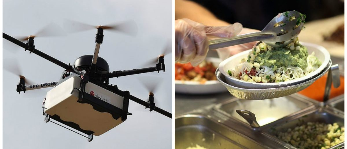 Left: This picture taken on September 28, 2015 shows a Geopost drone flying in Pourrieres, southeastern France, during a presentation of a prototype of a package delivery drone. [BORIS HORVAT/AFP/Getty Images] Right: Chipotle restaurant workers fill orders for customers on the day that the company announced it will only use non-GMO ingredients in its food on April 27, 2015 in Miami, Florida. [Joe Raedle/Getty Images]