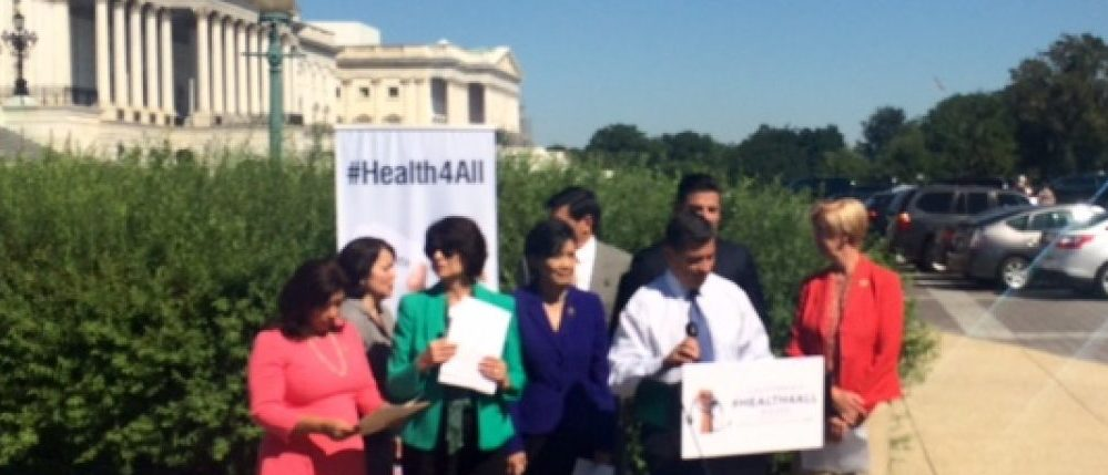 Democrats gather to push for Obamacare for illegal immigrants. Photo: Juliegrace Brufke/TheDCNF