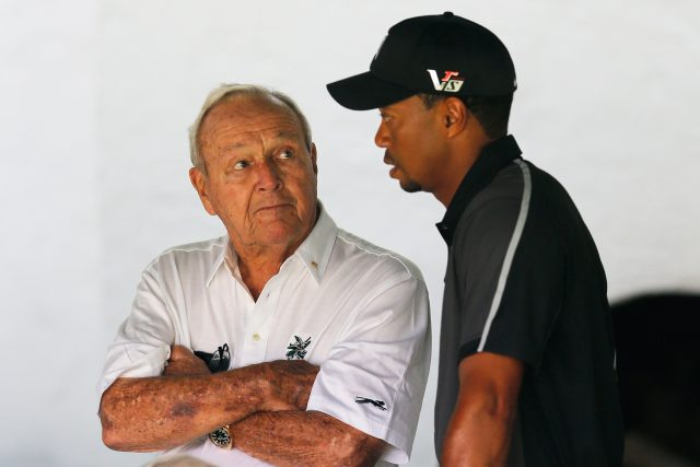 ARDMORE, PA - JUNE 11: Tiger Woods talks with Arnold Palmer prior to his practice round prior to the start of the 113th U.S. Open at Merion Golf Club on June 11, 2013 in Ardmore, Pennsylvania. (Photo by Rob Carr/Getty Images)