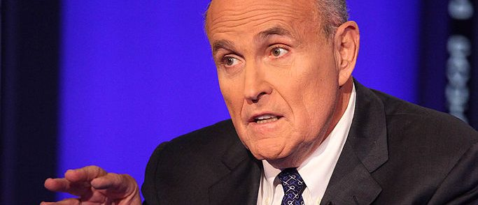 """NEW YORK, NY - SEPTEMBER 23:  Rudy Giuliani visits """"Cavuto"""" On FOX Business Network at FOX Studios on September 23, 2014 in New York City.  (Photo by Rob Kim/Getty Images)"""